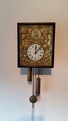 Clock with brass painting – made in Germany – circa 1920