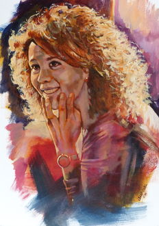 Jaap Snel - Portraitstudy of woman with curly hair