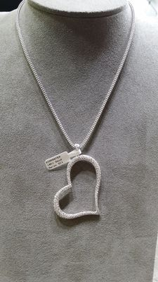 White gold necklace with pendant set with 5 ct pave flawless diamonds