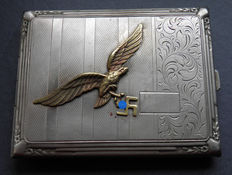 Air Force officer silver plated Cigarette case  very rare  big  . Air Force eagle