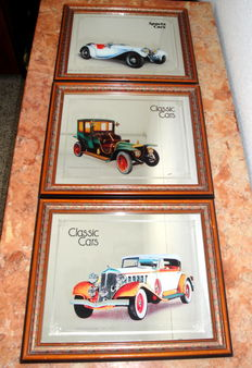 3 Printed Mirrors of Classic  Cars, c.a. 1960