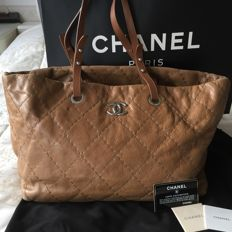Chanel - Brown Quilted Glazed Leather On-the-Road Tote Bag