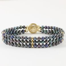 Estate 14 kt Yellow Gold Bracelet  with Black Cultured  Pearls