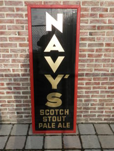 Old glass advertising sign from the now defunct brewery-end 19th to first half 20th century