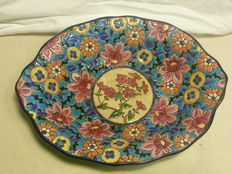 Enamels of Longwy - Ceramic dish with enamelled floral decoration