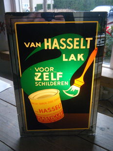 Light Advertisement Van Hasselt Lacquer.