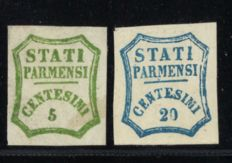 Italy State Parmesi 1857 - 5 and 20 centesimi - Michel 12+14