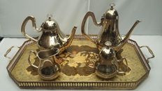 Art Deco, Silver plated Teaset & Brass and Formica Tray, Made in England