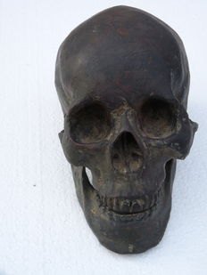Old large human skull in bronze - indistinctly signed - 19th century