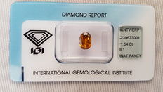 Cushion, Natural, Fancy, Deep Yellowish Orangey Brown Diamond of 1.54 ct, I 1