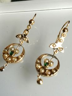 Elegant gold earrings with cultured pearls - No reserve.