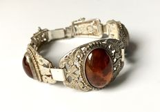Antique silver bracelet with amber, manufacturer mark
