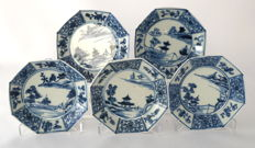 Series of 5 octagonal dishes with a decoration of houses in a rocky river landscape – China – around 1740