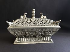 White metal bronze incense holder/burner - Tibet - end of the 20th century