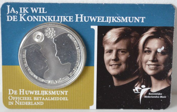 "The Netherlands - 10 Euros 2002 ""Royal Wedding Coin"" - silver in coin card."