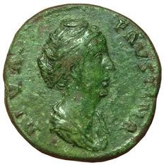 Roman Empire - Diva Faustina I (died 141 AD), wife of Antoninus Pius - AE Sestertius (31 mm; 23,38 g), after 146 AD - Rome mint - Draped bust / AETERNITAS - RIC 1102