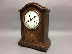 Wooden table clock with nice inlay - Germany - around 1935