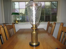 Large brass with glass shade wind light. (Art Deco Style?)