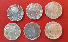 Spain – Isabel II – 5 coins of 1 real and 10 cents of escudo – 1852-1865