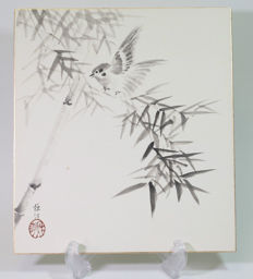 Shikishi bamboo with sparrow, hand painted – Japan – from around the middle of the 1900s
