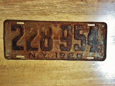 NEW YORK LICENSE PLATE 1920