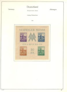 Soviet Zone 1945/1949 - Double guided collection on album pages in the Abria album with Leipzig Trade Fair block, Michel 5