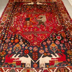 Stunning semi-antique ¨Battle of the lions¨ Persian Shiraz carpet - 200 x 150 - very special carpet