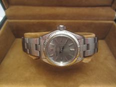 Rare Rolex Lady - steel - white gold bezel - ref. 6719 Oyster Perpetual - vintage, 1970s - women's watch