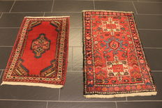 Two hand knotted Persian rugs – Heriz – Size: 64 x 92 – Hamadan – Size: 70 x 116 cm – Made in Iran