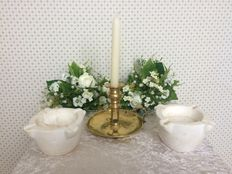 English sconce (candlestick) of brass from the early 19th century, two alabaster ashtrays from Spain, mid 20th century