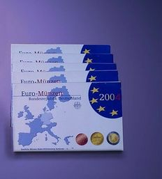 Germany – Year packs Euro coins 2004 A-D-F-G-J (5 pieces) complete
