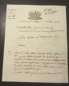Manuscripts: Military letter from Jacques-Antoine de Chambarlhac de Laubespin, general of Napoleon - 1805