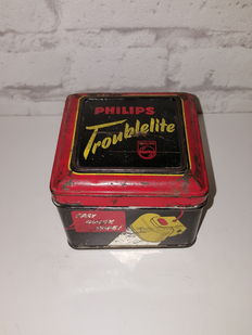 Vintage Philips Troublelite - Dim; L. 9 cm x W. 9 cm x H. 7 cm - with original tin packaging - (1955)