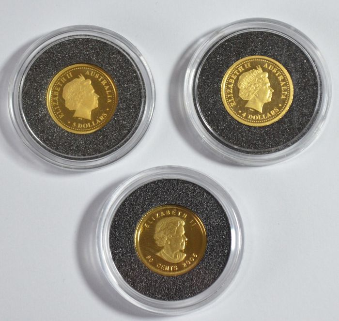 World – Set of 3 coins(Australia & Canada) 2005/2006 – 3 x 1/25 oz gold