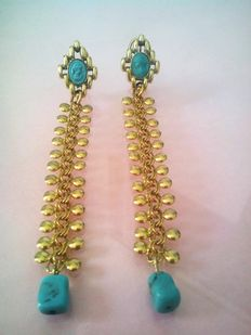 Long earrings in gilded silver with turquoise cameos