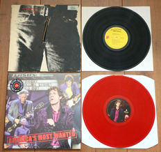 "The Rolling Stones- lot of 2 rare lp's: Sticky Fingers (US pressing 1971 w. Andy Warhol ""Zipper"" sleeve) & America's Most Wanted (Sticky Fingers live, RED wax!)"