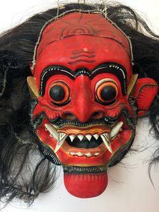 Mask depicting a follower of Rangda - Bali - Indonesia 2nd half/late 20th century