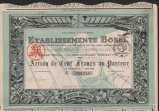 France - Etablissements Borel - Neuilly 1918 - Action 100 francs - DEKO Luchtvaart