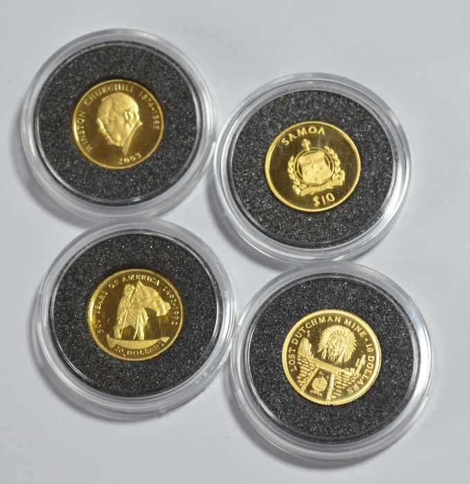 World - Set of 4 coins (Cook Islands & Samoa) 1995/2006 – 4 x 1/25 oz gold