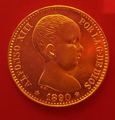Spain – Alfonso XII – 20 pesetas gold coin – Year 1890 – Madrid
