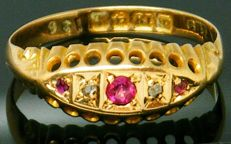 Ring, 18K heavy yellow gold, 2 Cld Cut diamonds & Real Natural Ruby Gemstone,- 0.12ct. P1M