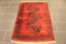 Old collectors' carpet Afghan around 1930 natural colours 105 x 146 cm