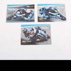 Photos autographed by the riders of Sky Racing Team VR46: Romano Fenati, Nicolò Bulega and Andrea Migno.