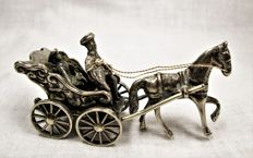 Silver miniature carriage with horse