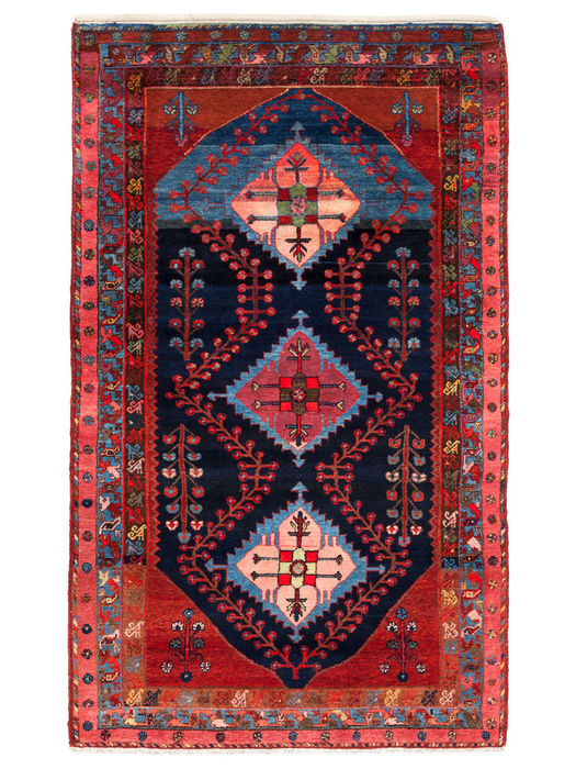 Hand-knotted antique Hamadan carpet, plant-based dye, high pile, Iran, 219 x 132 cm