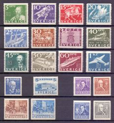 Sweden 1936/1941  – Compound of stamps and series on black presentation pages – between Yv 235 and 289