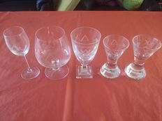 Five Crystal drinking glasses Freemasonry-Machined and hand engraved