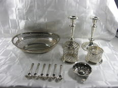 Lot silver plated, including pearl rim, England and Netherlands