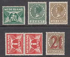 The Netherlands 1924/1927 - 5 plate flaws