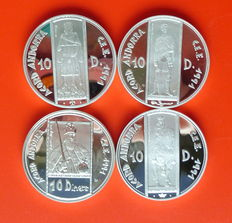Andorra – Lot of 4 coins – 10 diners – 1991, 1993, 1994, 1995 – Silver